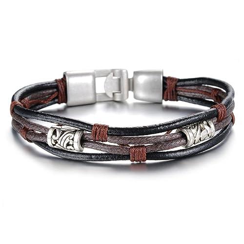 47725c2d2dd4 Stayoung Jewellery Vintage Tribal Cuero Trenzado Pulsera Brazalete Cuerda  para Hombre y Mujer