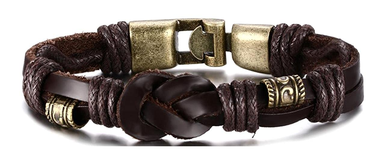 Towlimss Hip Hop Alloy Knot Leather Rope Bracelet With Buckle