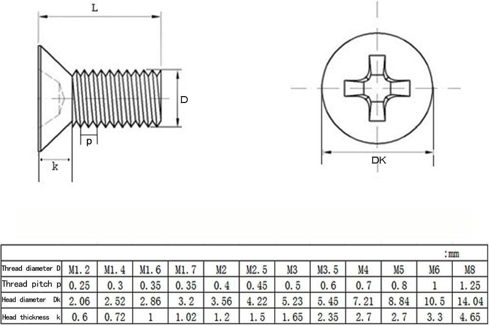 100pcs M3 Vis /à T/ête Frais/ée Autoperceuse en Acier Inoxydable,M3*10 BOZEVON Vis Cruciforme