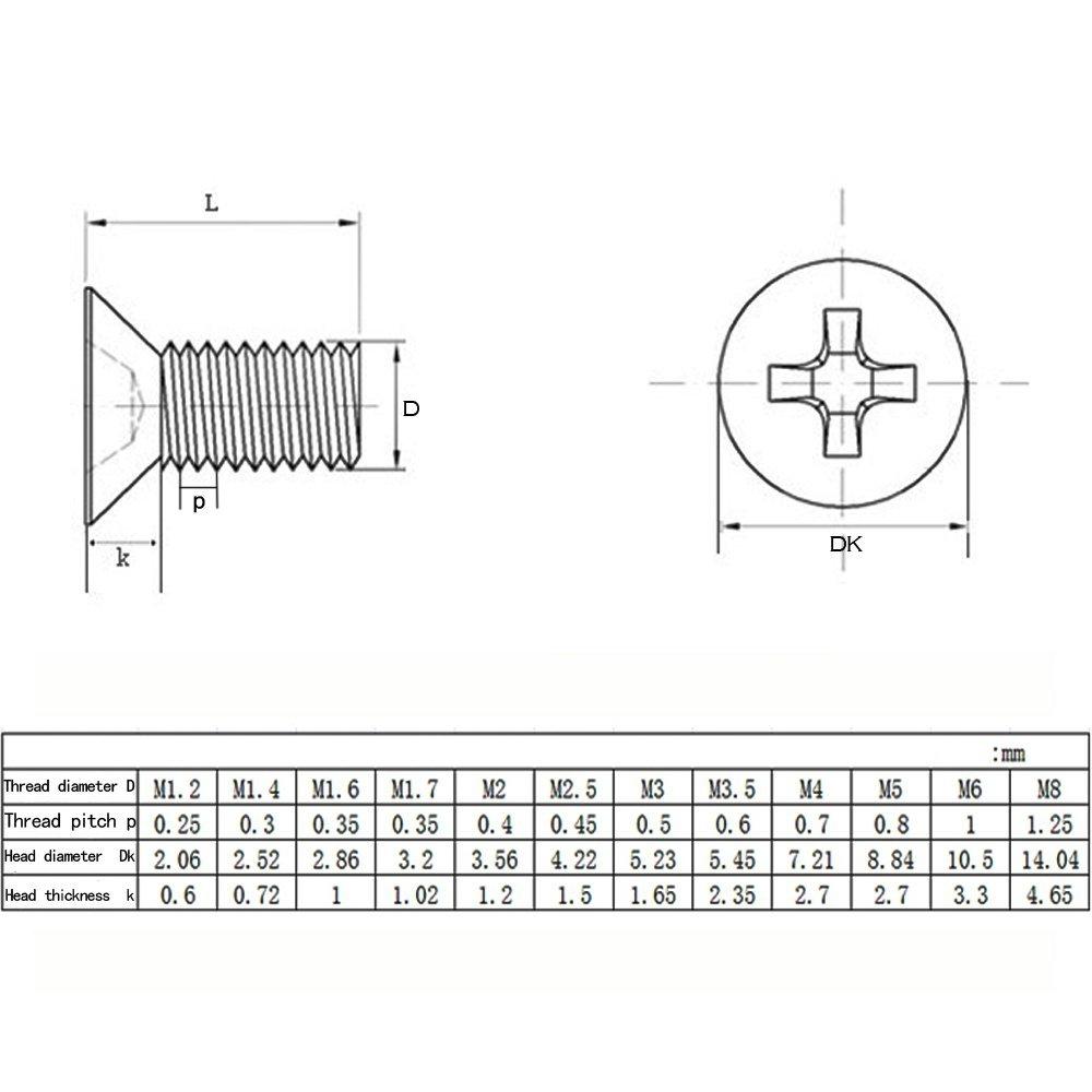 XFentech M4 Tornillo 100pcs Tornillo de Cabeza Avellanada Phillips de Cabeza Plana de Acero Inoxidable 304,M4*12