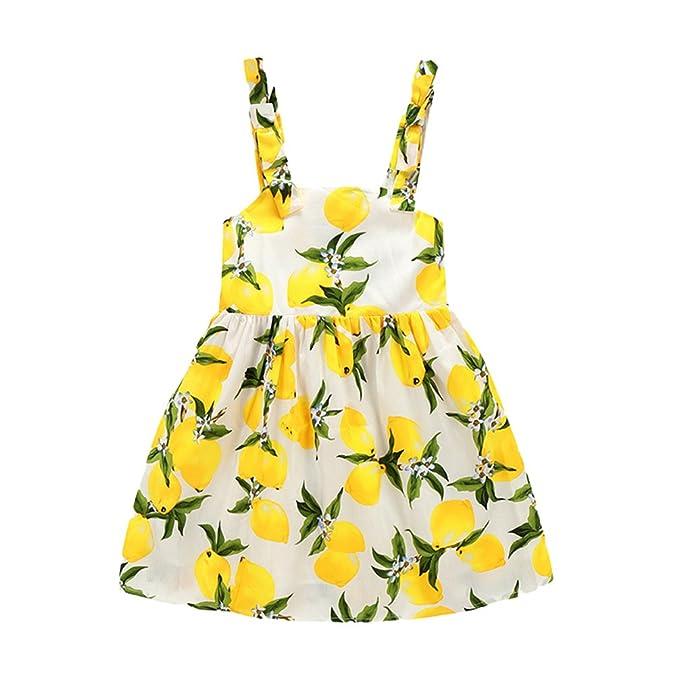 Xinwcang Vestido Niña,Niños Sin Mangas Impresión de Fruta de Limón Vestidos de la Honda