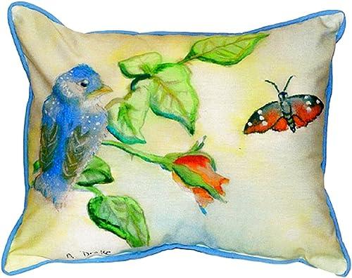 Betsy Drake SN249 Blue Bird Small Indoor Outdoor Pillow, 11 x14