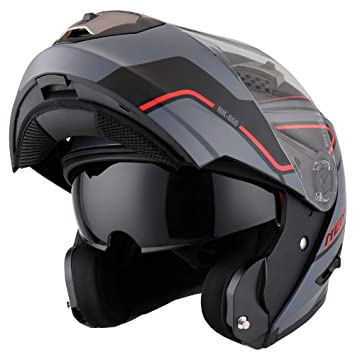 NENKI NK-860 Motorbike Helmet Motorcycle Moped Scooter Flip Up Modular Crash Helmets XL, Black Yellow Matt