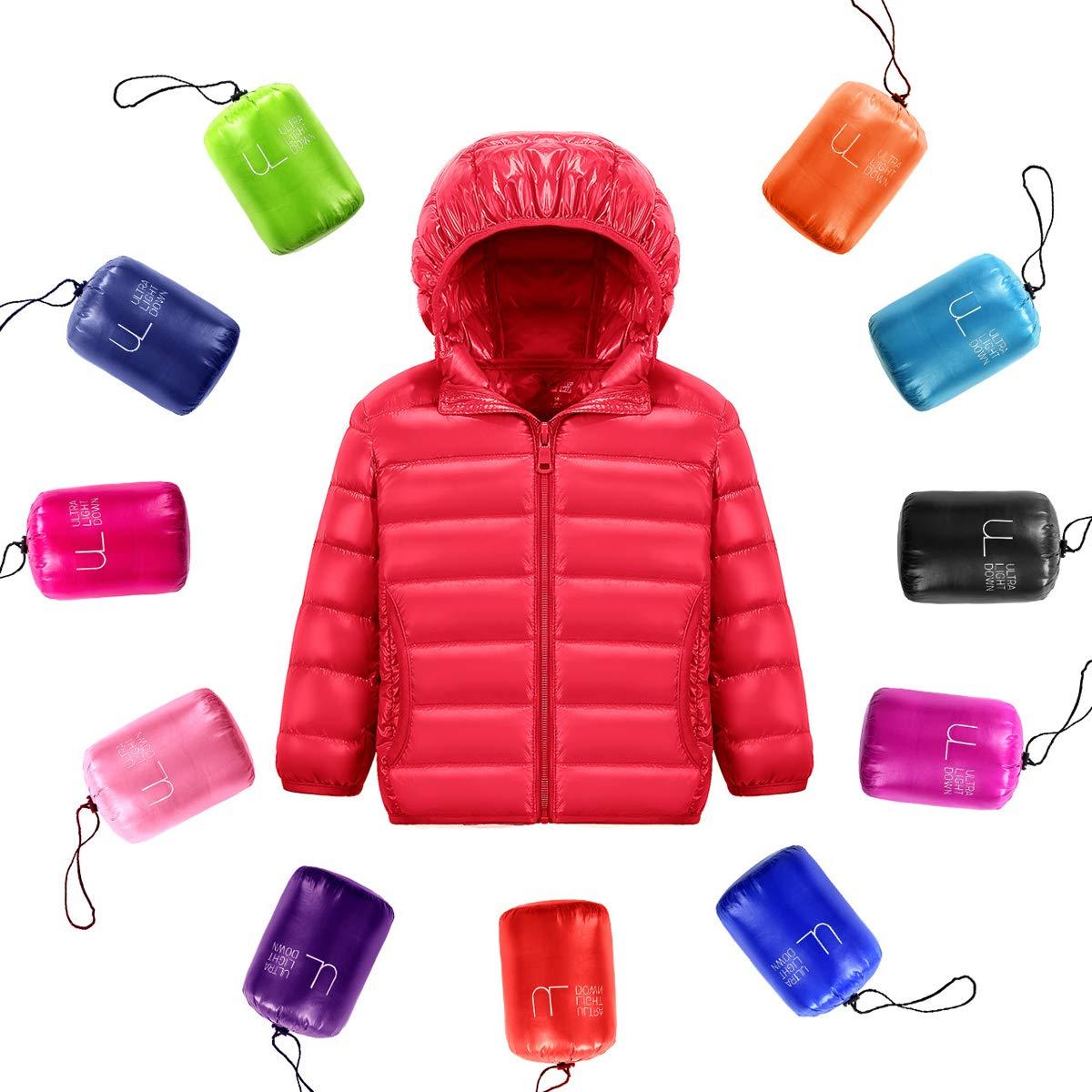 Cocrao Unisex Piumino Con Cappuccio Classico Ultra Leggero Del Cappotto Parka Zipper Giubbotti Inverno Packable Invernale per Ragazzi