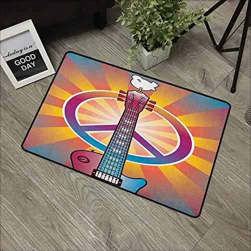 (pad W35 x L47 INCH Retro,Colorful Guitar and Peace Symbol and Dove Dedicated to The Woodstock Artsy Tribute, Multicolor Non-Slip Door Mat Carpet)