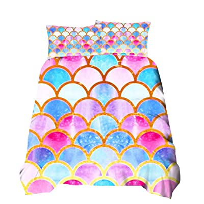 Feelyou Kids Duvet Cover Set Twin for Children Girls Mermaid Fish Scales Bedding Set Colorful Gorgeous Decorative Comforter Cover Lightweight Microfiber Polyester Quilt Cover with 1 Pillowcase, Zipper: Home & Kitchen