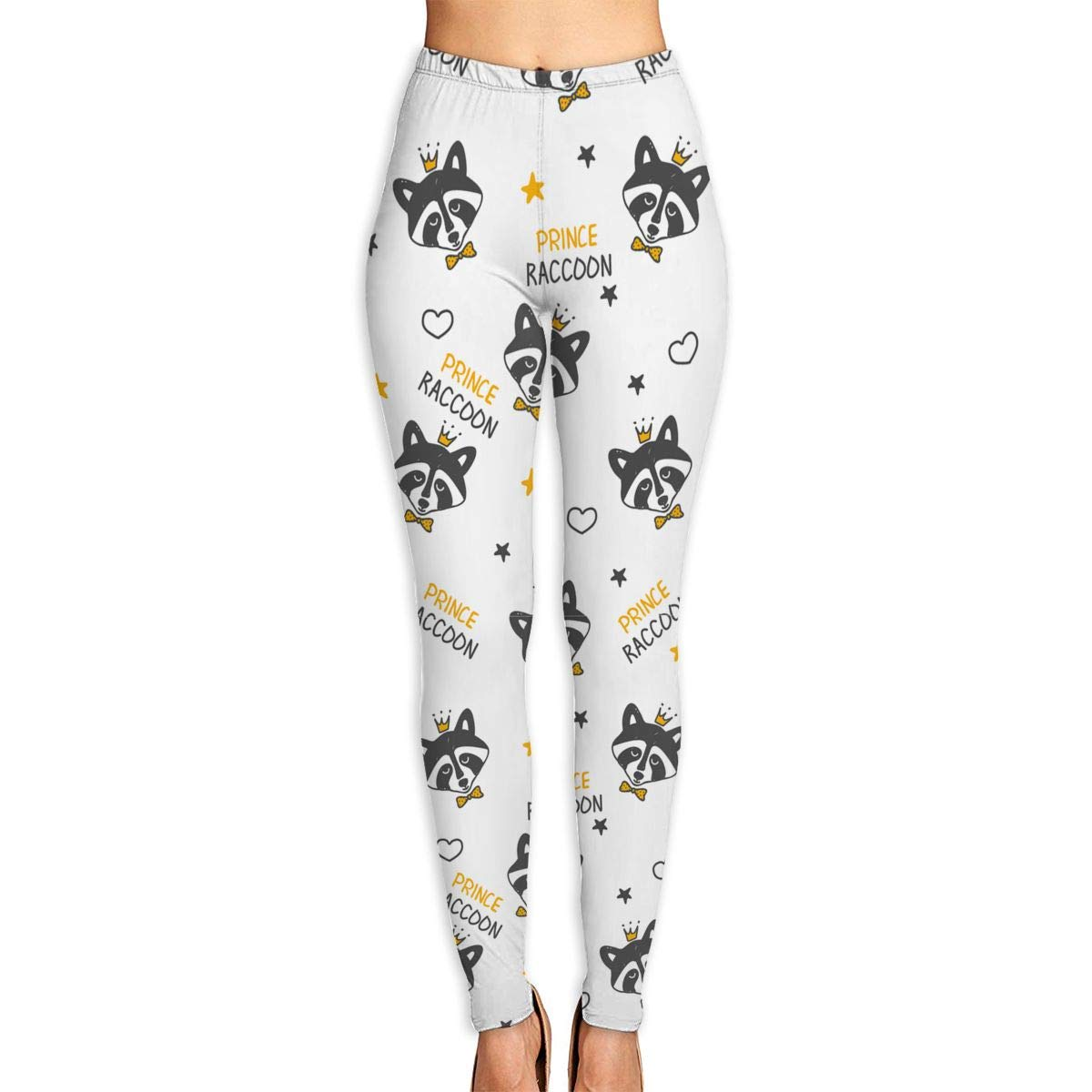 Ayf-S478 Raccoons and Stars and Hearts Womens Yoga Pants Sports Workout Leggings Athletic Tight Pants Fitness Power Stretch Yoga Leggings Tummy Control