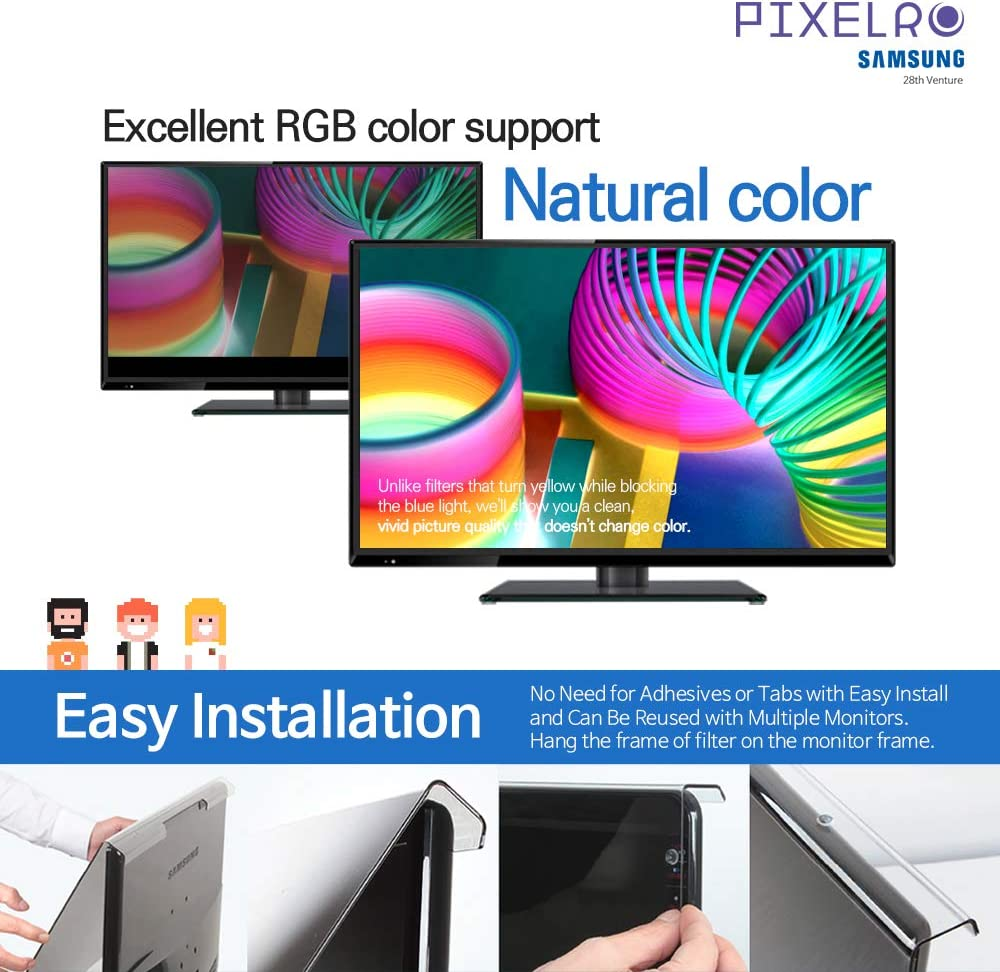 Easy On//Off and Removable Acrylic for 24 Universal Diagonally Measured 16:9 Aspect Ratio Monitor Pixelro Anti Blue Light Screen Protector Designed for Laptop Notebook