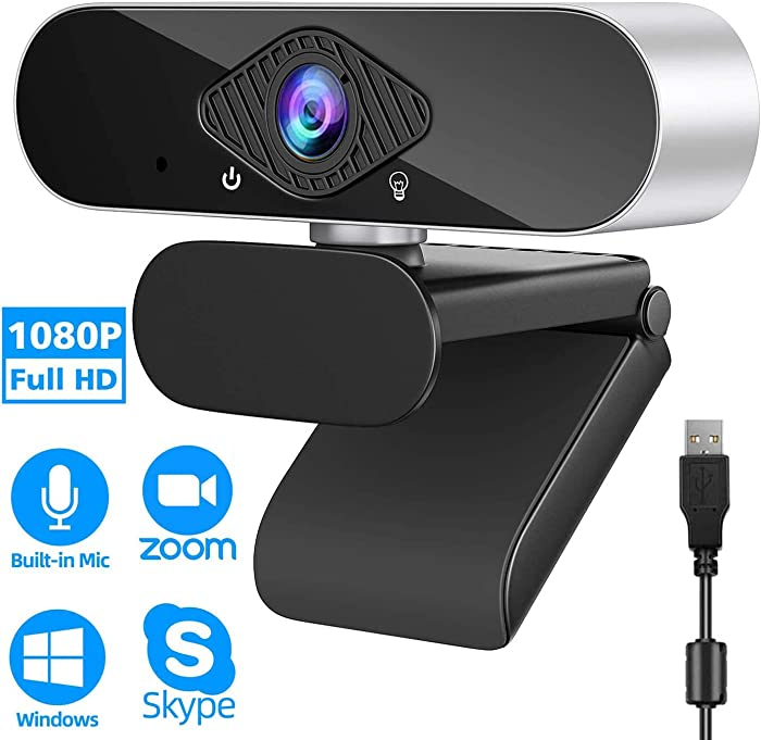 1080P Webcam with Microphone Full HD Video Camera for PC Laptop Desktop USB Plug and Play Video Conference Video Calling (Silver)