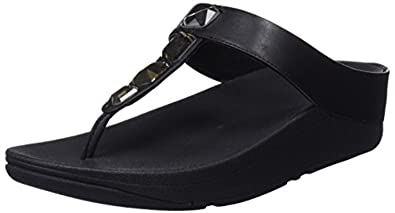 3d571e864cdc FitFlop Women s Roka Toe Thong Sandals - Leather Black 5   Sunlotion Bundle