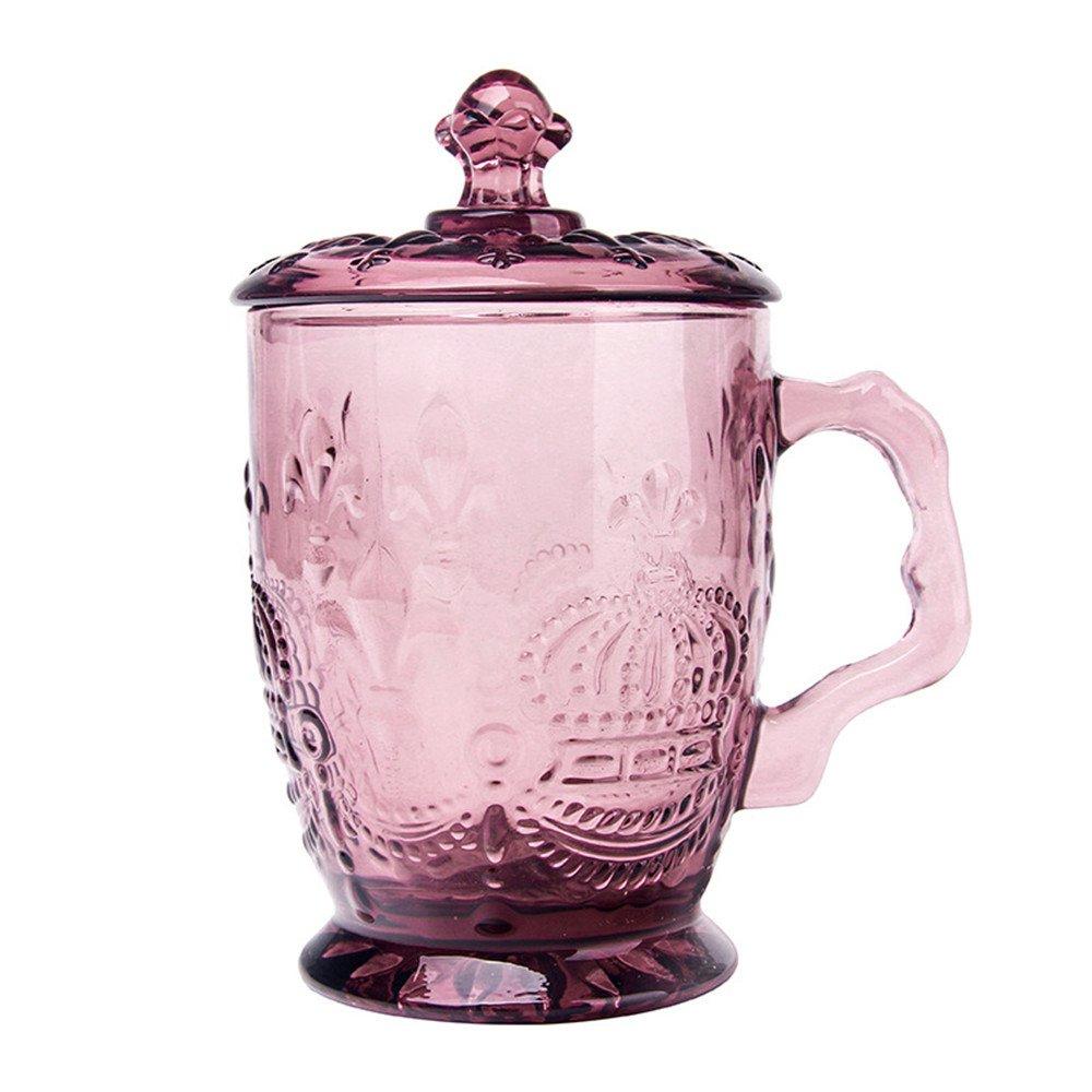 ✅ Crown Multi-colored Glass Drinking Glasses, Jar Beer Mug/cups Embossed''Crown'', Limited Edition Glassware Drinkware Barware Jar Mugs (Transparent Pink)