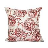 E by design 18 x 18-inch, Antique Flowers, Floral Print Pillow, Coral