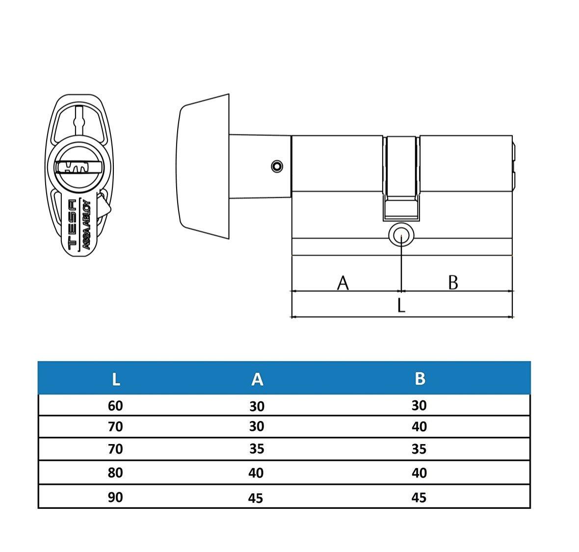Tesa Assa Abloy, T85B3030L, Cilindro de seguridad T80, Leva larga, Botón, 30x30mm, Latonado: Amazon.es: Bricolaje y herramientas