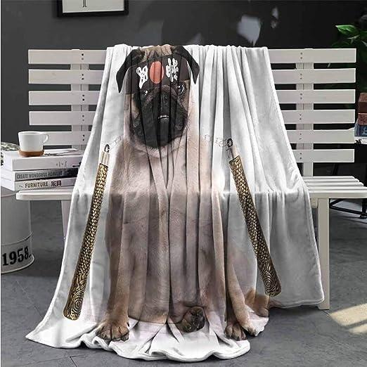 Amazon.com: nooweihome Pug Blanket Sofa Blanket Martial Art ...