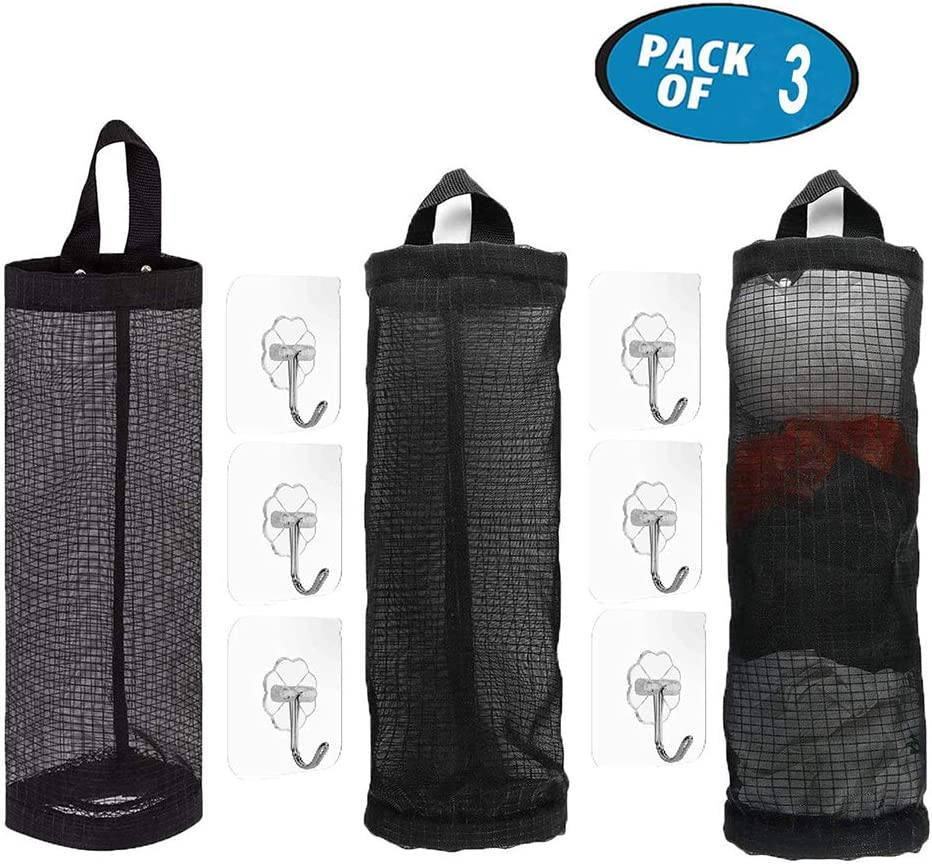 3Pcs Plastic Bag Holder and Dispenser Foldable Breathable Washable Hanging Mesh Garbage Bag Organizer with 6 Hooks for Kitchen Plastic Bag Storage (Black)