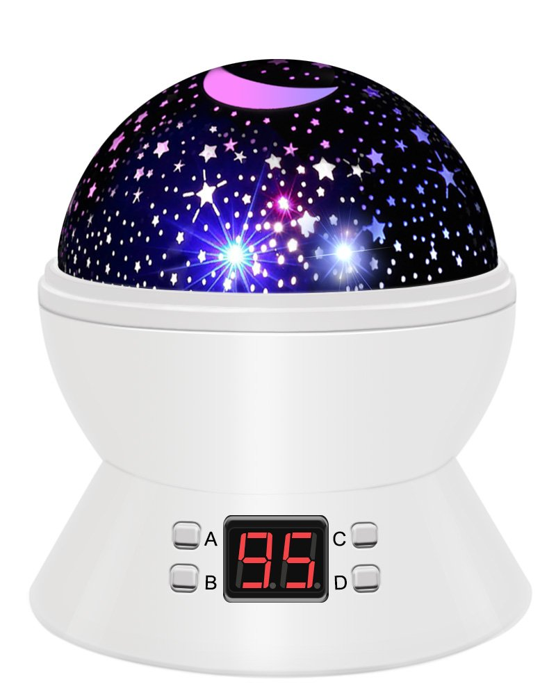 Star Sky Night Lamp,ANTEQI Baby Lights 360 Degree Romantic Room Rotating Cosmos Star Projector With LED Timer Auto-Shut Off,USB Cable For Kid Bedroom,Christmas Gift (White)