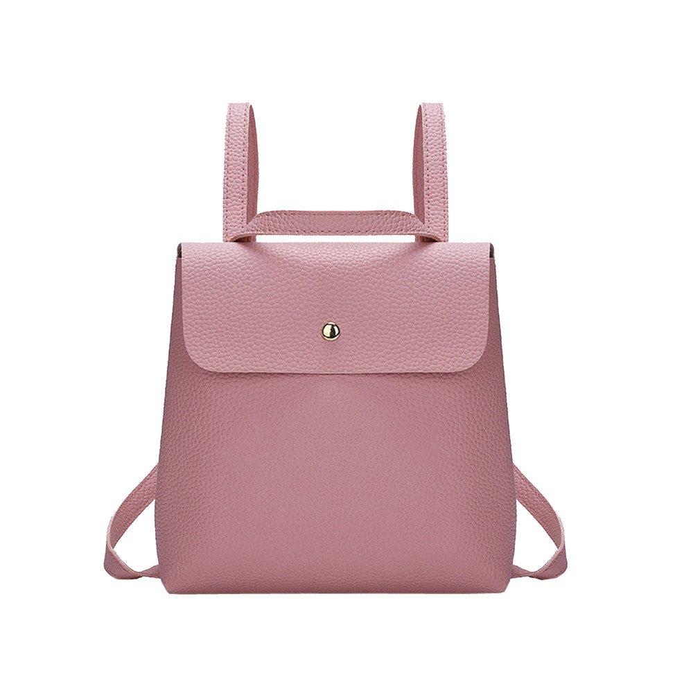 PU Leather Backpack Mini Shoulder Bag Backpack,Jchen Fashion Women Girls Pure Color Mini School Bag Backpack Shoulder Bag (Pink)