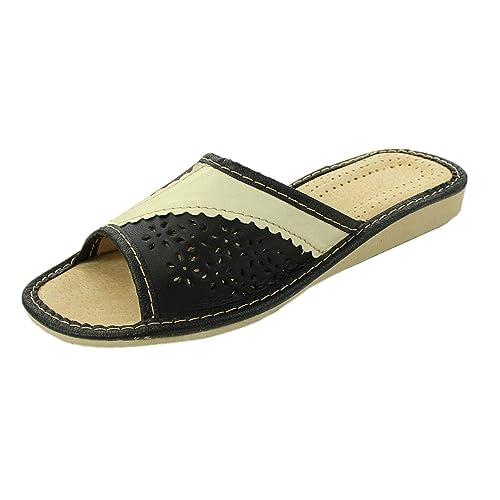 2fd51a822070c7 Forfus Damen Hausschuhe Leichte Pantoletten Leder  Amazon.de  Schuhe ...