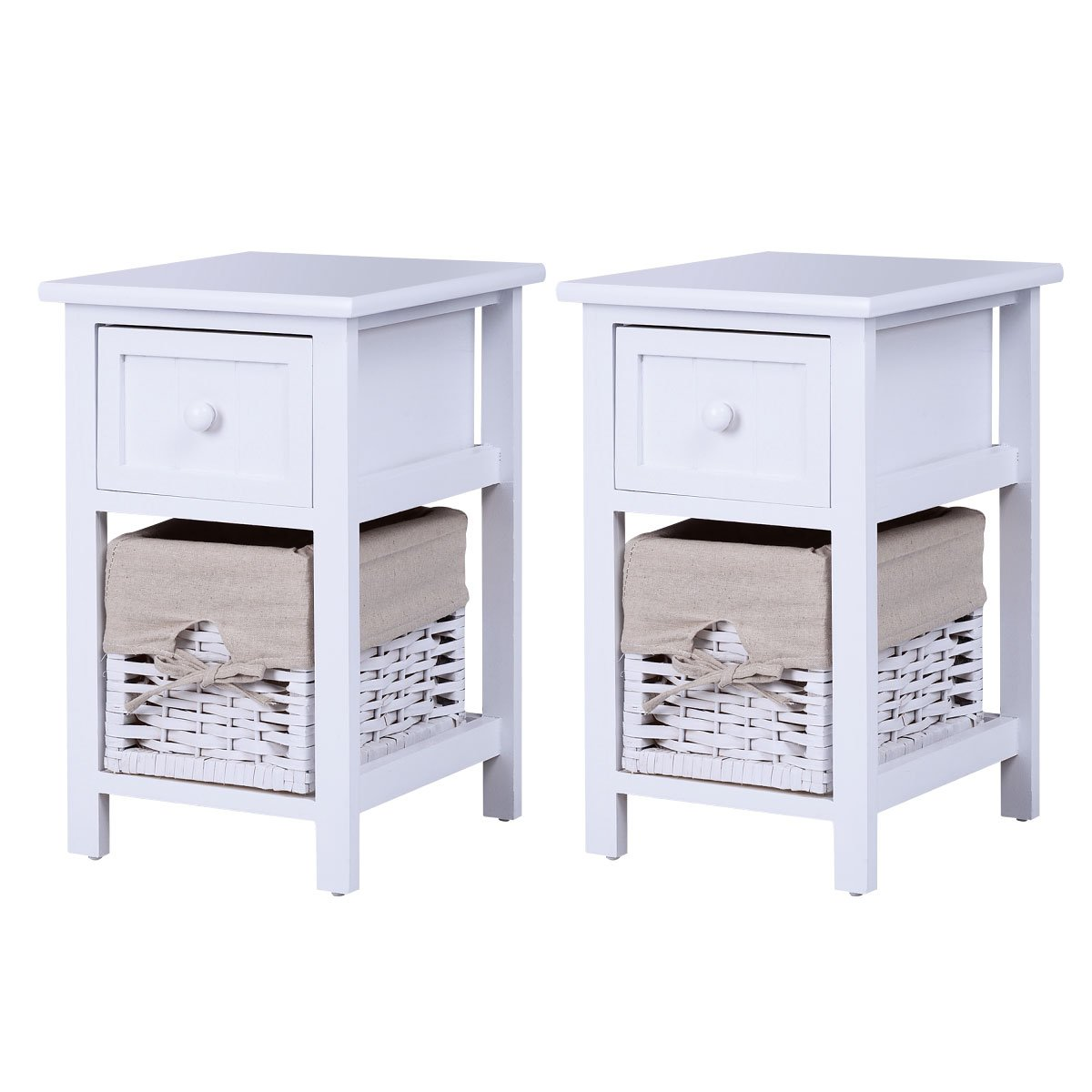 Giantex 2Pcs 2 Tier Nightstand Bedroom End Table Bedside Organizer Wood with Drawer & Basket, White