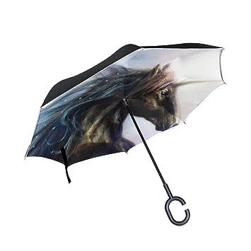 ALAZA Doble Capa invertido Paraguas Coches inversa Paraguas Unicornio y Prueba a Prueba de Viento Estrellas