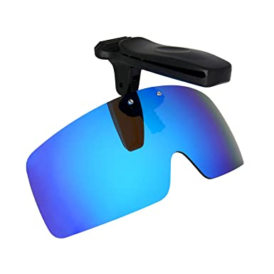 HKUCO Sunglasses Clip Blue/Green Polarized Lenses Hat Visors Clip-on Sunglasses For Fishing/Biking/Hiking/Golf UV400 Protect K9K2Z