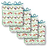 Cackleberry Home Bright Chickens Seat Cushions with Ties 15 Inches Square Reversible, Set of 4