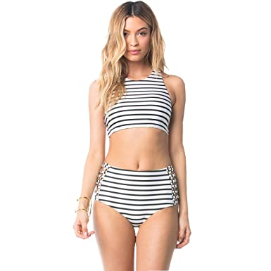 622b6e28f6aadf Amazon.com: ALICE-XandS Women's High Waisted Swimsuit White Black Striped Push  up Padded Bathing Suit XL: Clothing