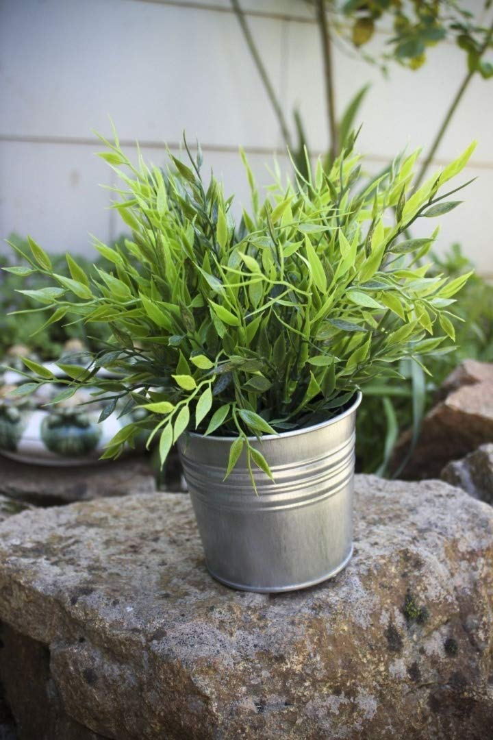 Ikea Artificial Potted Plant Bamboo 11'' Lifelike Nature Houseplant Decoration Fejka- WITH METAL POT!