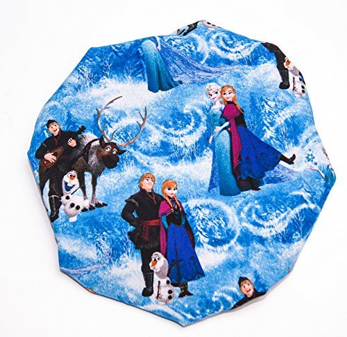 (KIDS FROZEN, AQUA) lined HANDCRAFTED Reversible Kids and toddlers Satin Bonnet will fit AGE 12 Months to 10 years - (MADE IN - To Glasses Hairstyles With Go