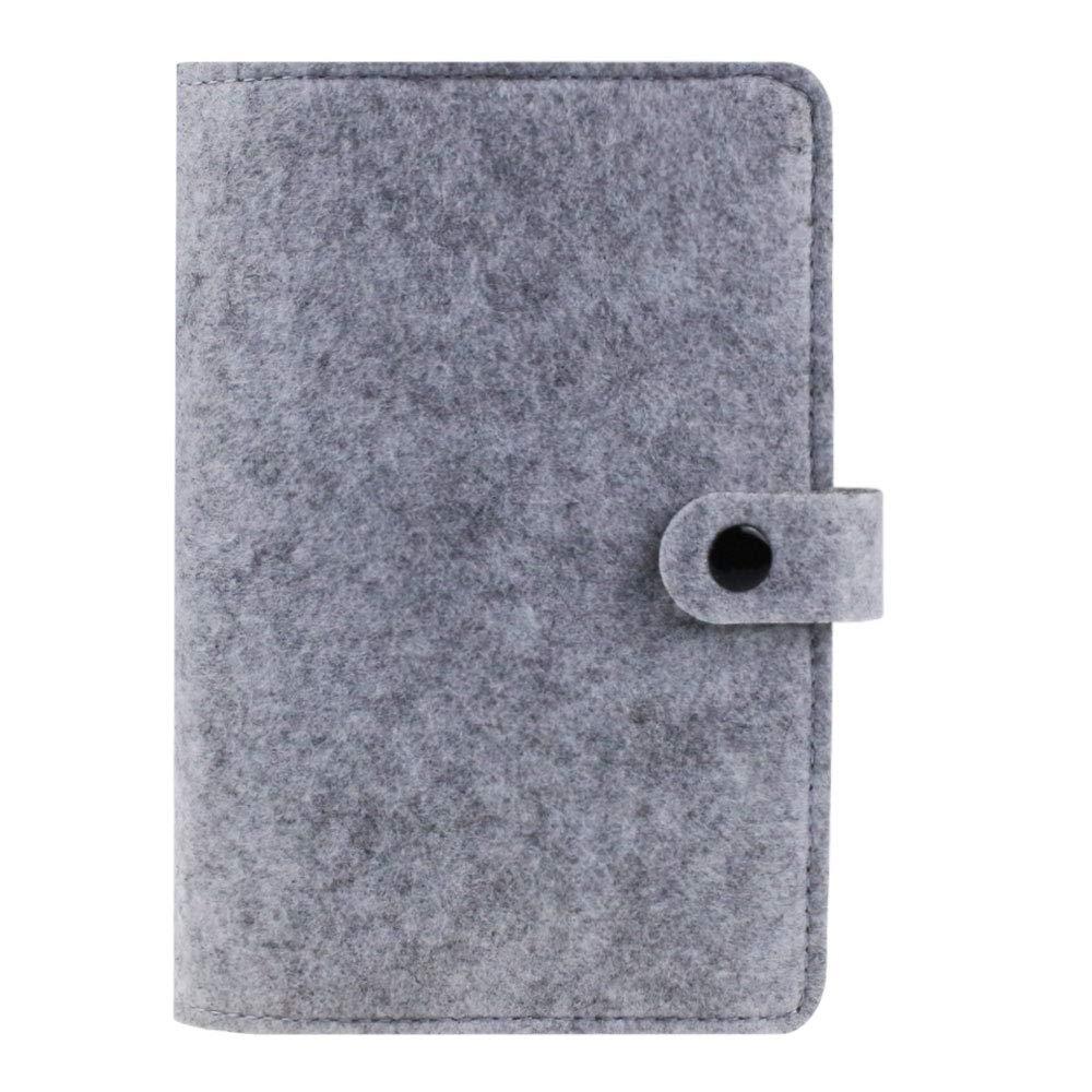 Carpeta de fieltro tamaño A6, cuaderno en espiral, carpeta de 6 anillas,diario de viaje recargable, diario de viaje, diario de viajeros, cubierta de ...
