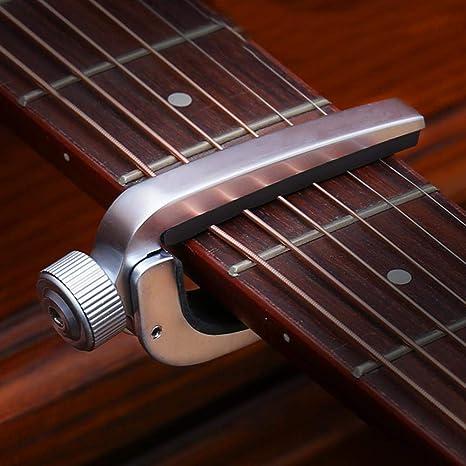 Cejilla Guitarra Electricas Capo para Guitarra Acustica Clasica Folk Ukelele Ligero Sola Mano Cambio Fácil y
