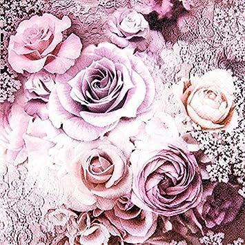 20 Servietten Rosen Hochzeit Vintage Blumen Lila Fruhling Sommer 33