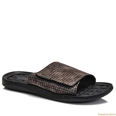 Kenneth Cole Reaction Men's Adjustable Velcro Band Slide Sandals, Dark Grey (12)