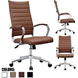 2xhome - Brown - Modern High Back Tall Ribbed PU Leather Swivel Tilt Adjustable Chair Designer Boss Executive Management Manager Office Conference Room Work Task Computer