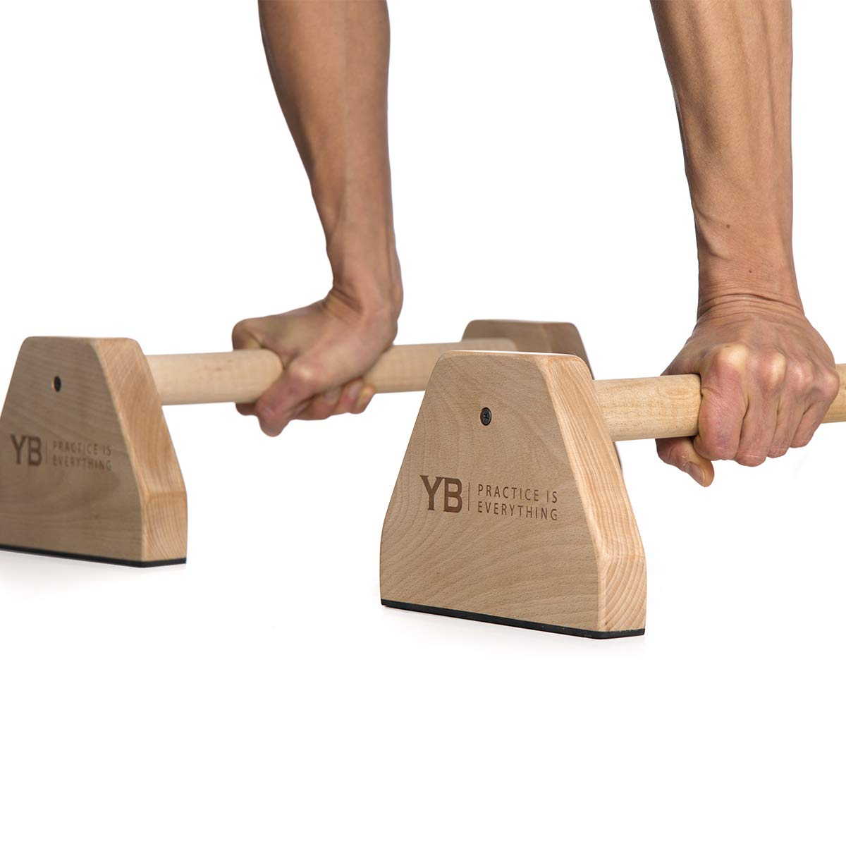 YOGABODY Birch Wood Parallettes (Set of 2)   Beautiful, Smooth, Non-Slip Yoga & Gymnastic Training Tool for L-Sits, Lolasana, Handstand Pushups, Jump Backs & More by YOGABODY (Image #2)