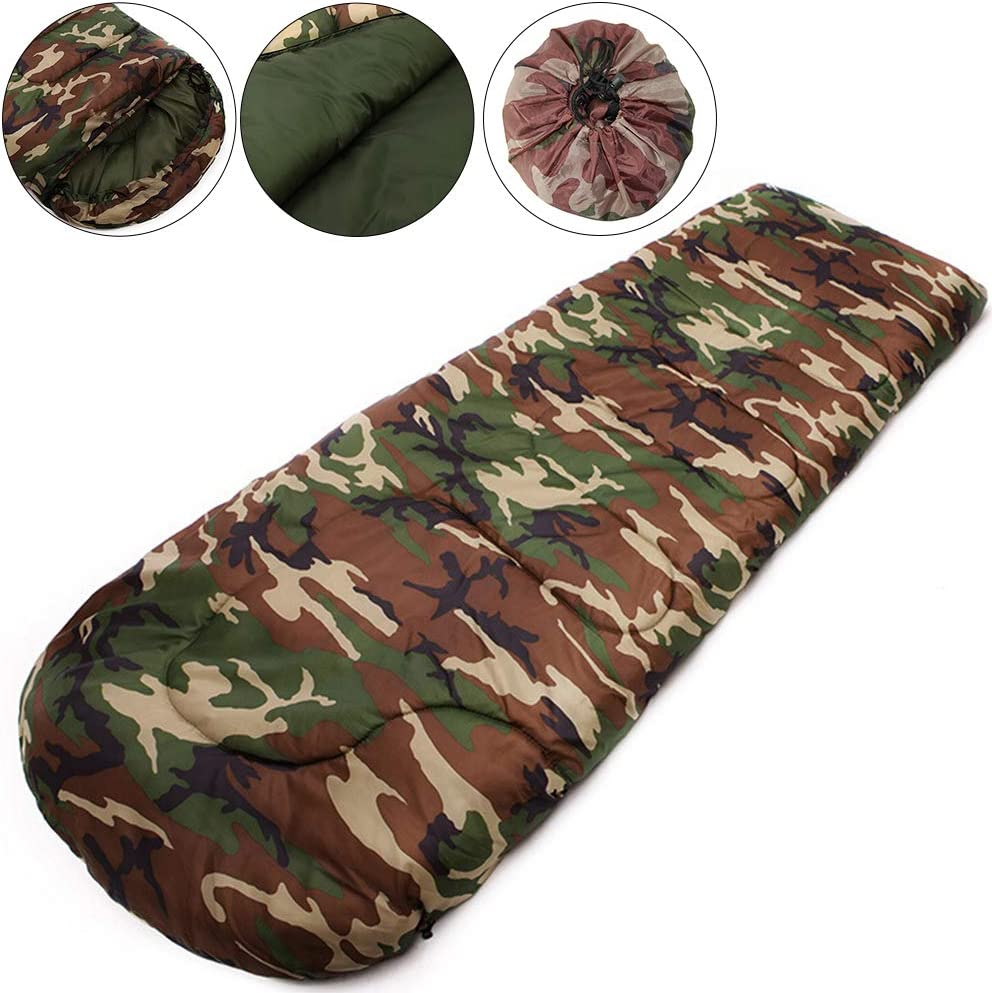 Huntingdoor Oudoor Sleeping Bag Ultra Light Portable Camping Sleeping Bags Hiking with Compression Sack for 4 Season Waterproof 10-20 Degree Camo