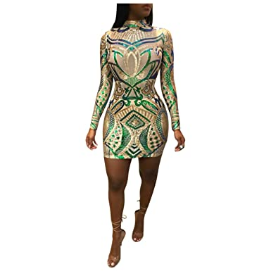 cfee12d16f87 Womens Sexy Stand Up Neck Zip Up Sequins Floral Bodycon Clubwear Overlay  Bodysuit Dress Apricot Small