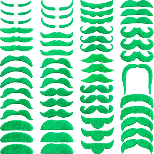 Zhehao 60 Pieces Self Adhesive Fake Mustache St. Patrick's Day Decorations Green Mustache Green Beard for St.Patrick's Day Party Supplies
