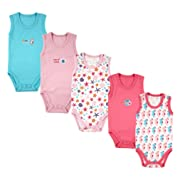 5-Pack Lightweight Sleeveless Bodysuits in Pink, 3-6 months