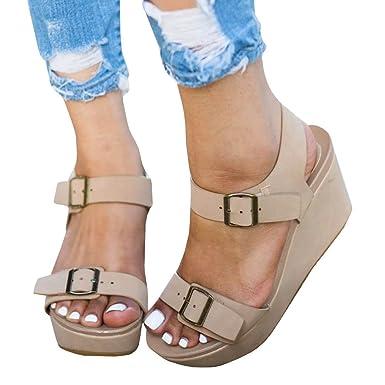 8bb7cf926d Amazon.com: Seraih Womens Flatform Sandals Wedge Surf Ankle Strap Buckle  Shoes Summer Sandal: Clothing