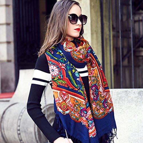 DANA XU 100% Pure Wool Women's Large Traditional Cultural Wear Pashmina Scarf (Navy Blue) by DANA XU (Image #2)