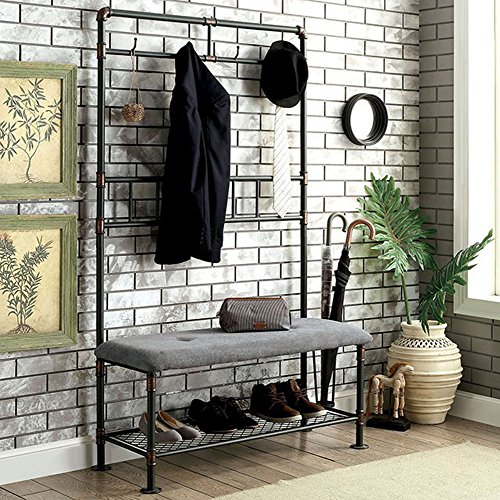 "Furniture of America CM7914BN-S Kora Industrial 34"" Hallway Seating Bench"
