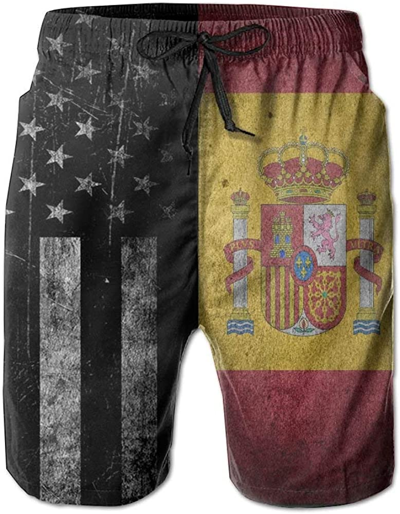 Mbefore Pantalón Corto de Bandera Estadounidense y Bandera española Pantalones Cortos para Hombres Traje de baño Short de Playa, M: Amazon.es: Ropa y accesorios