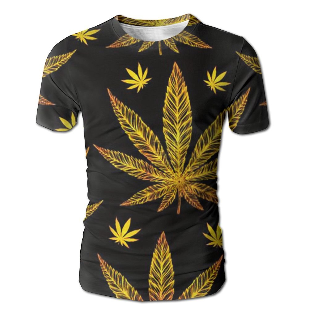 XIA WUEY Golden Marihuana Leaves Men'sFunny Baseball Tshirt Graphic Tees Tops For Workout