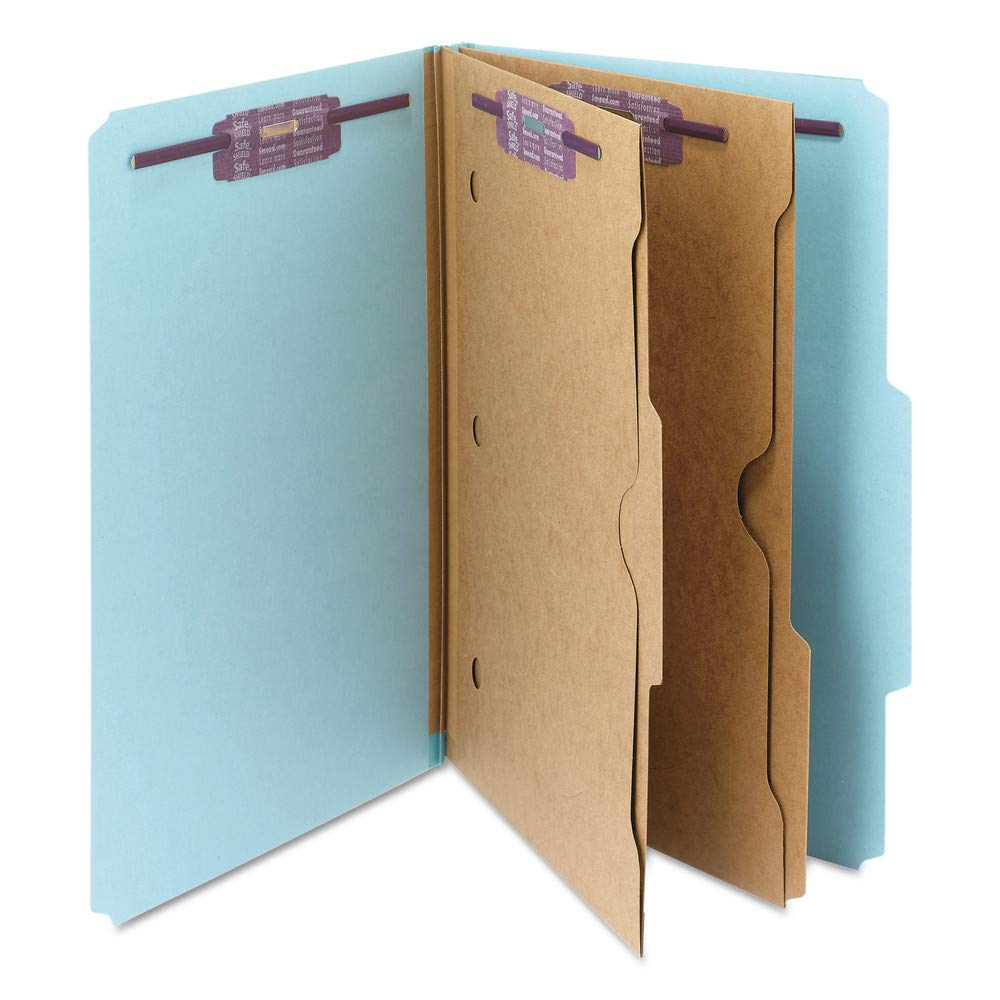 Smead Pressboard Folders with Two Pocket Dividers, Legal, Six-Section, Blue, 10/Box by Smead