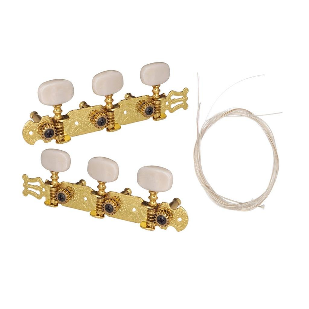 Baoblaze Set of 2 Guitar Tuning Pegs Tuners with Nylon Guitar Strings for Acoustic Guitar Musical Instrument Parts