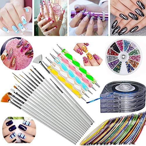 JOYJULY Nail Art Kit contains 30 Striping tape & 4Pcs Striping Roller Box & 12 Colors Rhinestones & 5pcs Dotting Pen & 15pcs Brush Set 5