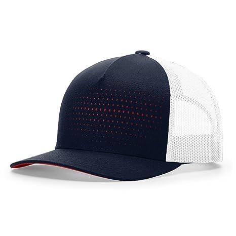 3f55e13096c755 2040USA Richardson Laser Cut Five Panel Trucker Mesh Hat (Tricolor: Black/ Charcoal/Orange) at Amazon Men's Clothing store: