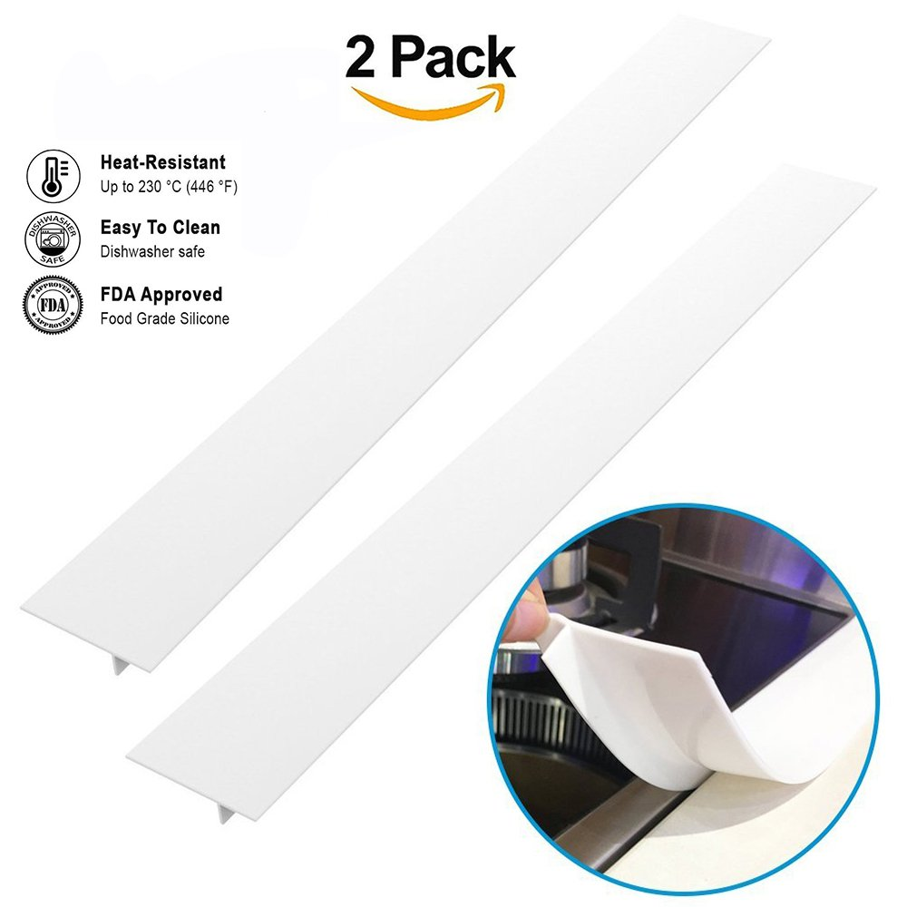 Silicone Gap Seals Cover Strip Stopper Filler Between Kitchen Stove Counter Oven Washer Dryer (2 Pack,White)