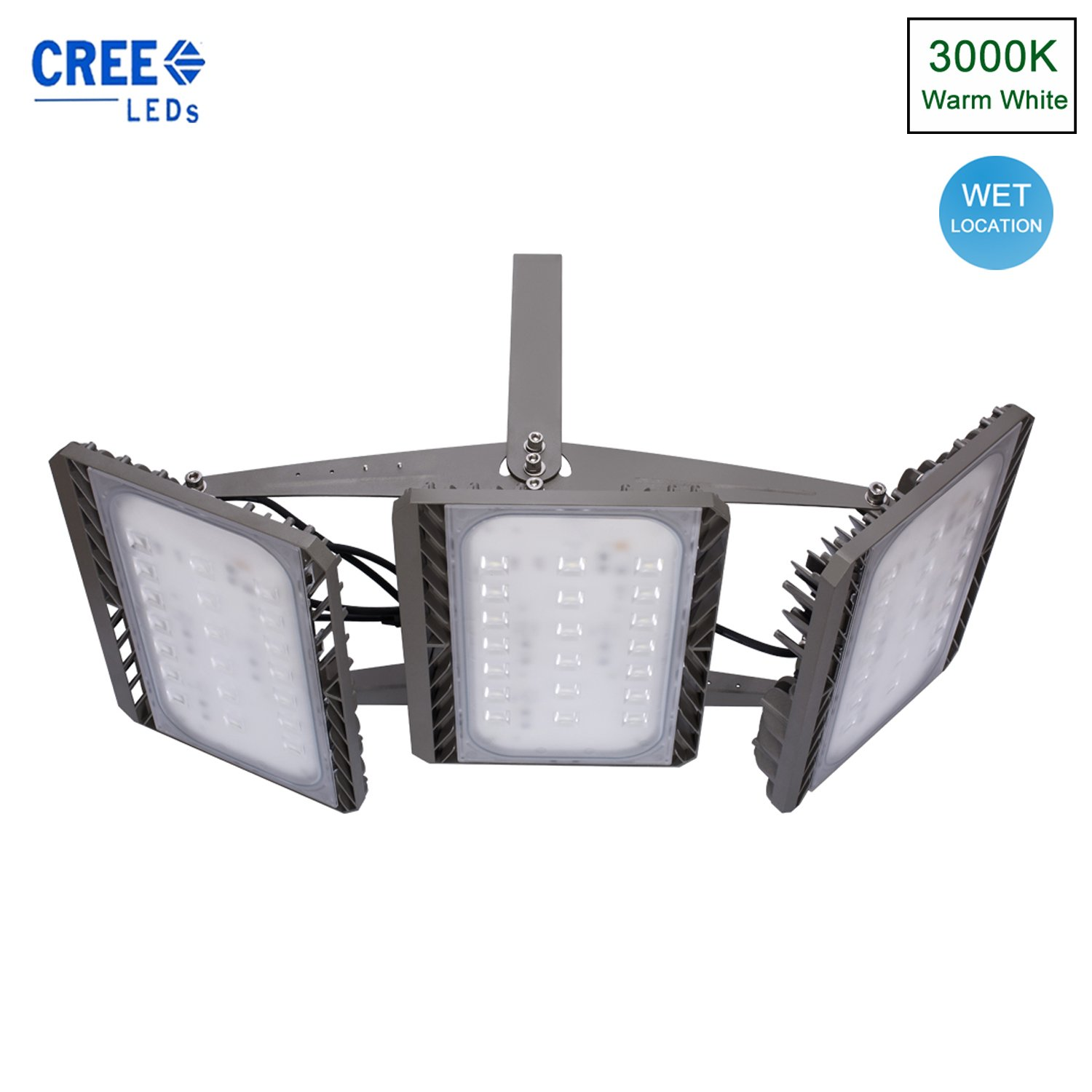 Stasun LED Flood Light, 300W Super Bright LED Security lights Outdoor, Cree LED Source, 27000lm, 900W Equivalent, 3000K Warm White, Adjustable Heads, Wide Angle Waterproof Large Area Wall Lights